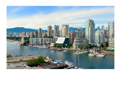 Vancouver BC - Scenic aerial photograph - Sunny day - Burrard Bridge