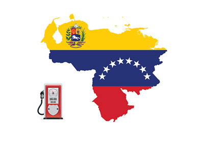 Venezuela flag and crest - Illustration of old school gas station
