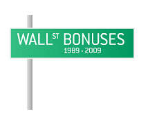 -- Street sign illustration - Wall Street Bonuses --