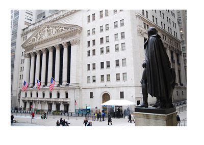 The Stock Exchange building - Wall Street and Broadway - New York - Front entrance
