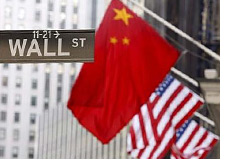-- wall street sign with chinese and u.s. flags in the background - who do united states owe money to? --