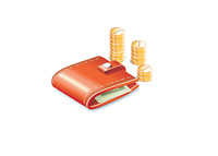 Wallet and Change - Personal Income - Illustration