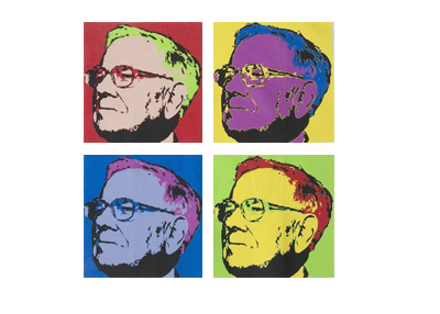 The early Apple style artwork of Warren Buffett.  4 coloured images.