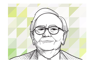 Famous investor Warren Buffett - Illustration with green triangular shapes in the background.