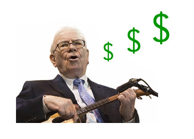 A photo of Warren Buffett playing a mini (pico) guitar.  And singing.  Year 2013.