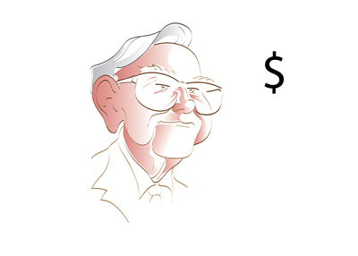 The famous investor, Warren Buffett, is looking at the dollar sign with clearly pleasant thoughts on his mind.  Illustration.