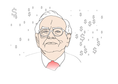 Illustration of the famous investor Warren Buffett.  Titled:  Raining Cash.