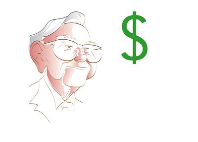 Warren Buffett Chasing the Dollar - Illustration
