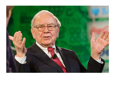 Warren Buffet - Hands in the air - Green and black LCD background. Year 2013