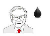 Warren Buffett - Line Drawing - Oil Price - Illustration