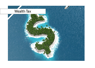 The wealth island.  The image to accompany an article about the proposed wealth tax in the United States.  Year is 2019.