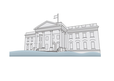 The line drawing of the White House in Washington D.C.