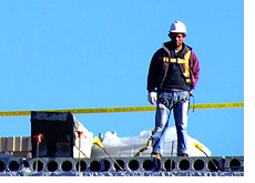-- Construction worker in the sky - Nearly 8 million jobs have been lost in U.S. since December of 2007 --