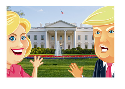 The White House - Washington DC - view from the front on a nice day.  Hillary Clinton cartoon character on the left and Donald Trump on the right.