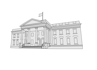 The drawing of the White House in Washington D.C., United States of America