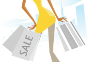 Woman Shopping - Black Friday - Illustration