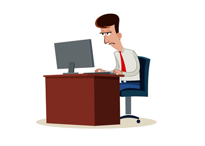 Man Working Overtime - Illustration - Cartoon