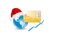 Xmas Online Shopping - Illustration - Globe, Santa Hat and Credit Card