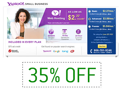 Yahoo web hosting discount 35% off coupon
