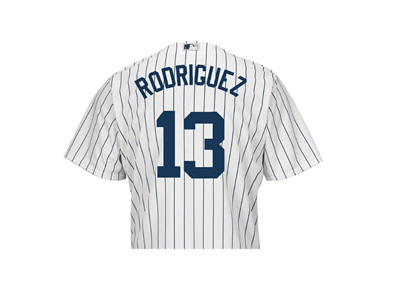 Alex Rodriguez - Yankees Jersey - White colour - Back side - Number 13 (Thirteen)