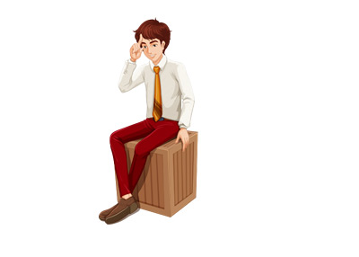 Illustration of a young man sitting on a box